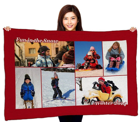 "Photo Blankets - Full Service Photo Collage Plush Fleece Blanket - 40"" X 60"""