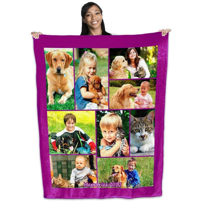 "Photo Blankets - Full Service Photo Collage Plush Fleece Blanket - 50"" X 60"""