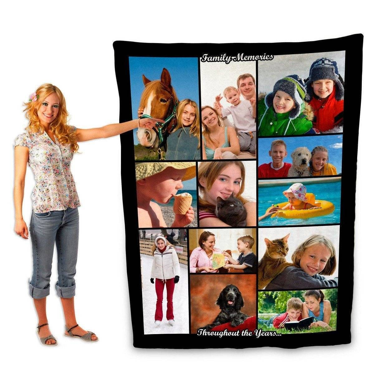 "Photo Blankets - Full Service Photo Collage Plush Fleece Blanket - 80"" X 60"""