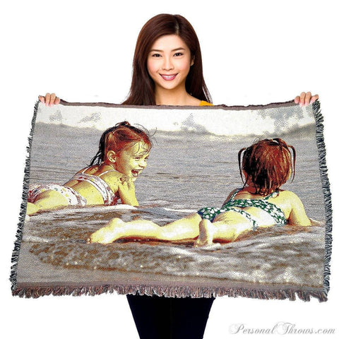 "Photo Blankets,Holiday Gifts,Mother's Day Gifts - Jacquard Woven Photo Blanket - 54"" X 38"" (Small)"