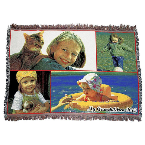 "Photo Blankets - Jacquard Woven Full Service Collage Blanket - 54"" X 38"" (Small)"