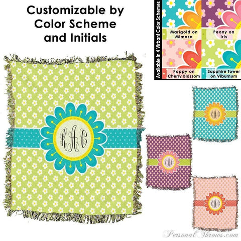 "Photo Blankets,Monogrammed Gifts,Mother's Day Gifts - Blooming Spring Monogrammed HD Woven Blanket - 60"" X 54"""