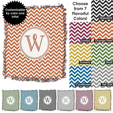 "Photo Blankets,Monogrammed Gifts,Mother's Day Gifts - Chevron Monogrammed HD Woven Blanket - 60"" X 54"""