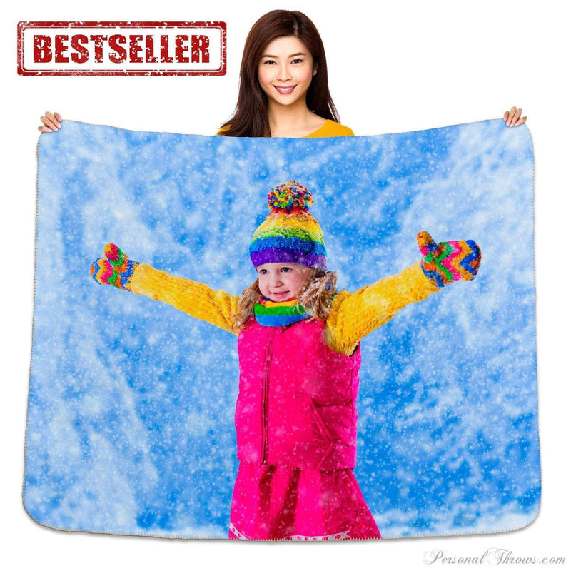 "50"" x 60"" Heavy Weight Photo Sherpa Throw Blanket"