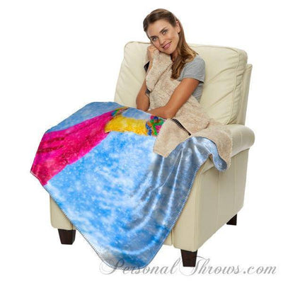 "Photo Blankets,Mother's Day Gifts - 50"" X 60"" Heavy Weight Photo Sherpa Throw Blanket"