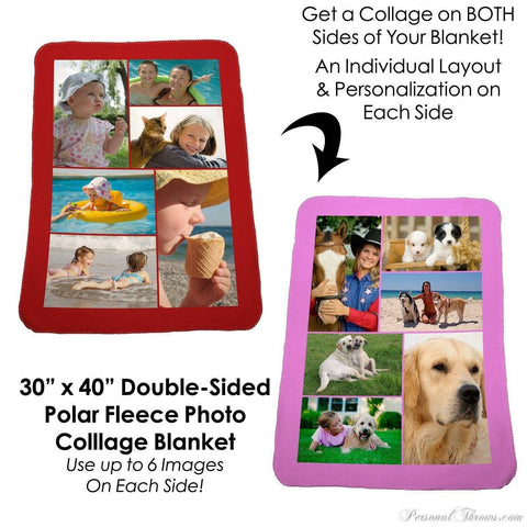 "Photo Blankets,Valentine's Day Gifts,Holiday Gifts - Double-Sided Photo Collage Polar Fleece Blanket -30""x40"""