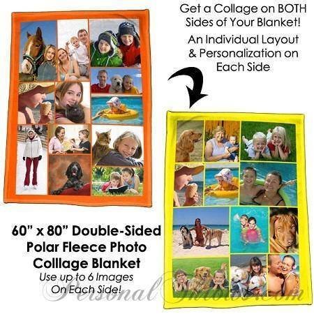 "Photo Blankets,Valentine's Day Gifts,Holiday Gifts - Double-Sided Photo Collage Polar Fleece Blanket - 60"" X 80"""