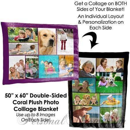 "Photo Blankets,Valentine's Day Gifts,Holiday Gifts,Mother's Day Gifts - Double-Sided Photo Collage Plush Fleece Blanket - 60"" X 50"""
