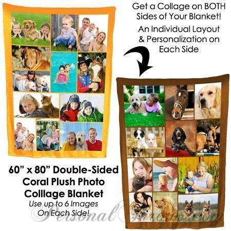 "Photo Blankets,Valentine's Day Gifts,Holiday Gifts,Mother's Day Gifts - Double-Sided Photo Collage Plush Fleece Blanket - 80"" X 60"""