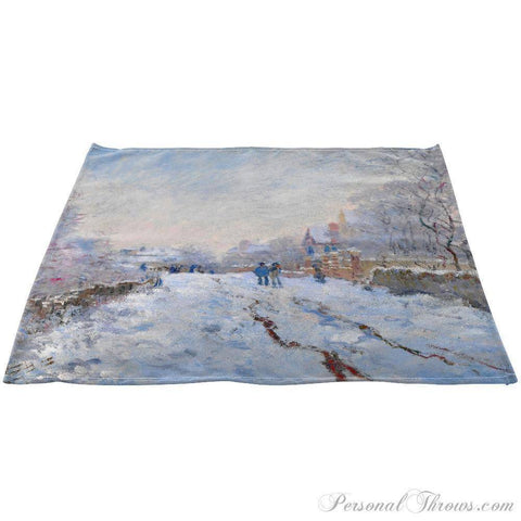 "Photo Home & Office,Holiday Gifts - Claude Monet's ""Snow At Argenteuil, 1875"" Linen Napkins 20"" X 20"", Set"