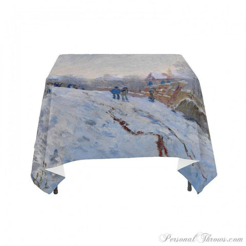 "Photo Home & Office,Holiday Gifts - Claude Monet's ""Snow At Argenteuil, 1875"", Linen Table Cloth"