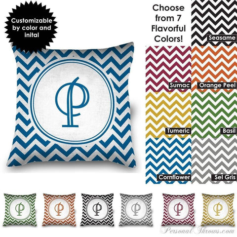 "Photo Pillows,Monogrammed Gifts,Other Products,Mother's Day Gifts - 16"" Square Chevron Monogrammed MircoFleece Pillow"