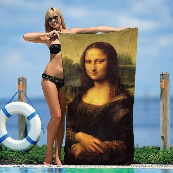 "Photo Towels,Designer Gifts - Leonardo Da Vinci's Mona Lisa Beach Towel - 30"" X 60"""