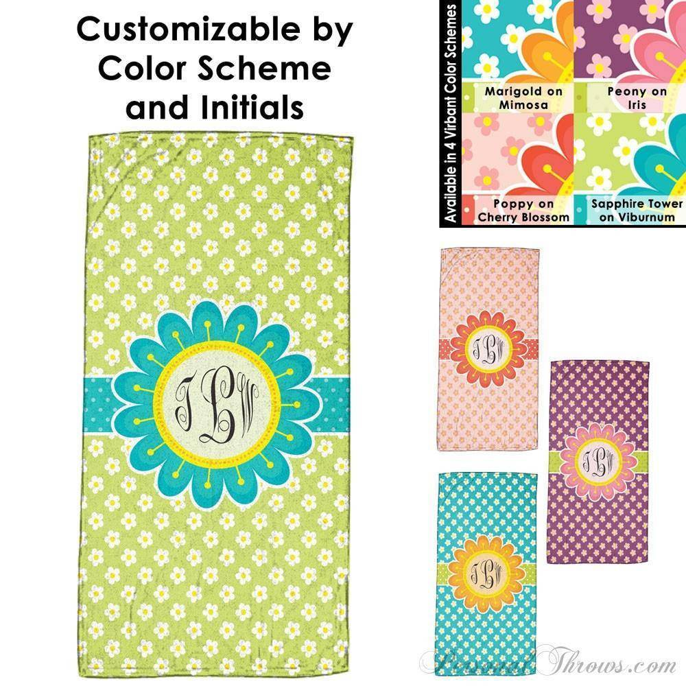 "Photo Towels,Monogrammed Gifts,Other Products,Mother's Day Gifts - Blooming Spring Monogrammed Beach Towel - 30"" X 60"""