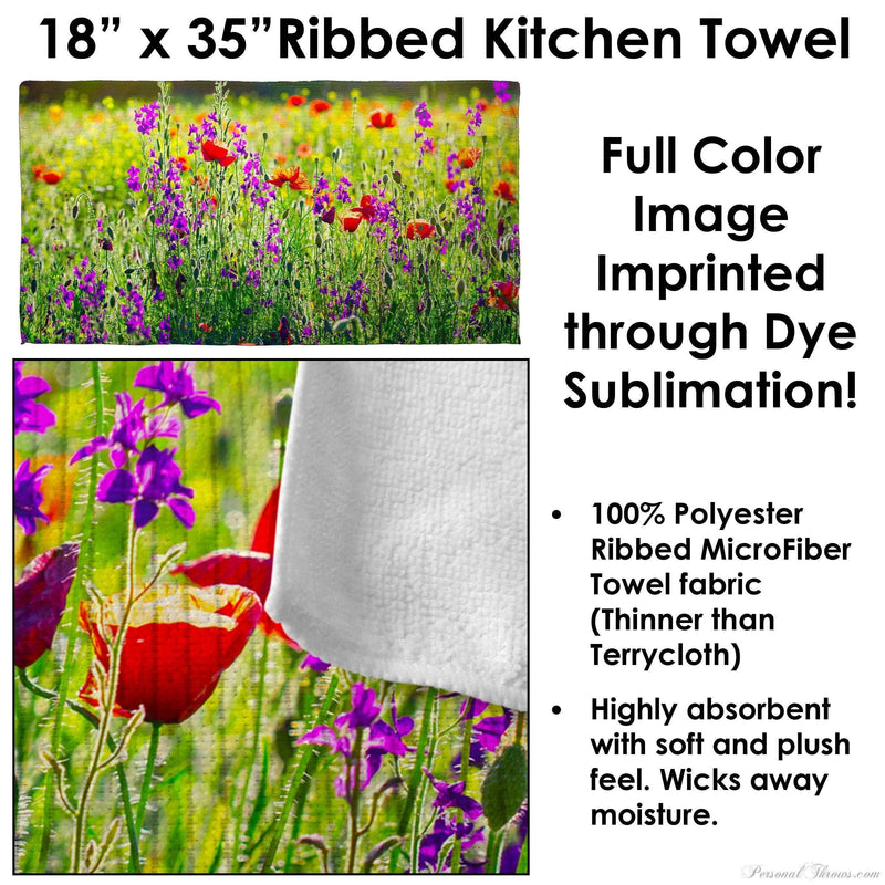 "Photo Towels,Mother's Day Gifts - Photo Ribbed Kitchen Towel - 18"" X 35"""