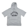 Old School Boxing Short-Sleeve Hoodie Grey Hooded Sweatshirt