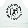 OSG Throwback Stringer Tank Old School Gym White Tank Top Detail