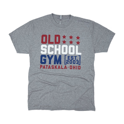 Red White & GAINZ Tee Grey Old School Gym T-Shirt