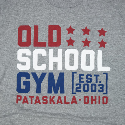 Red White & GAINZ Tee Grey Old School Gym T-Shirt Detail