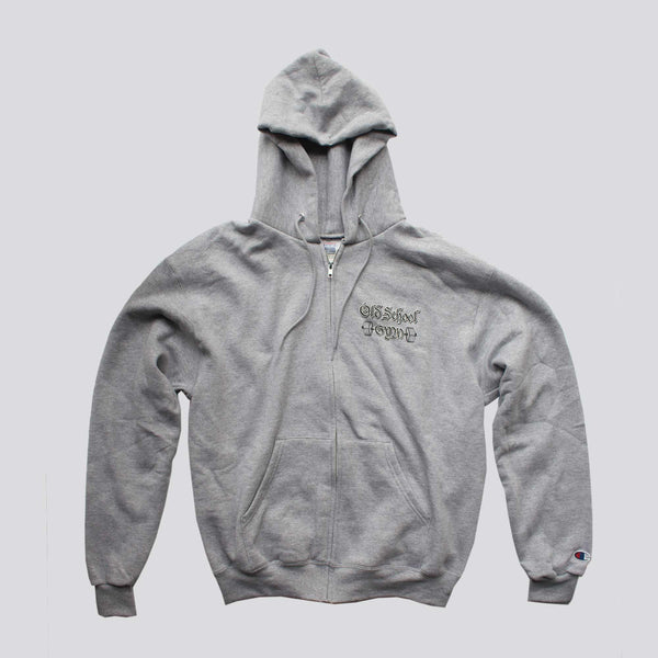 OLD SCHOOL GYM Champion Zip Up Hoodie - Light Grey
