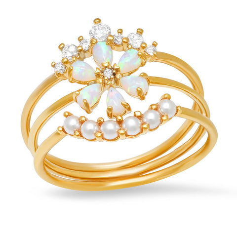 FLOWER STACK RING WITH OPAL AND PEARL ACCENTS | TAI RITTICHAI