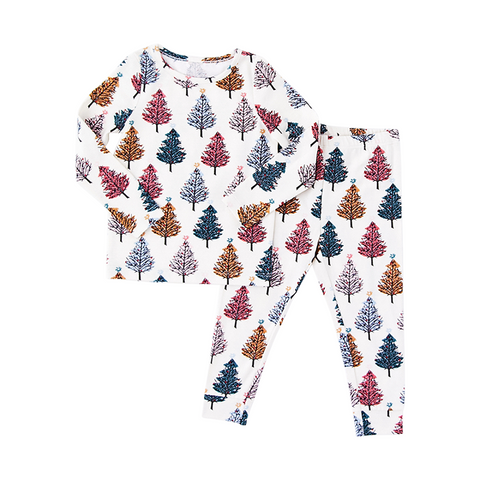 KIDS HOLIDAY PJ SET CHRISTMAS TREES