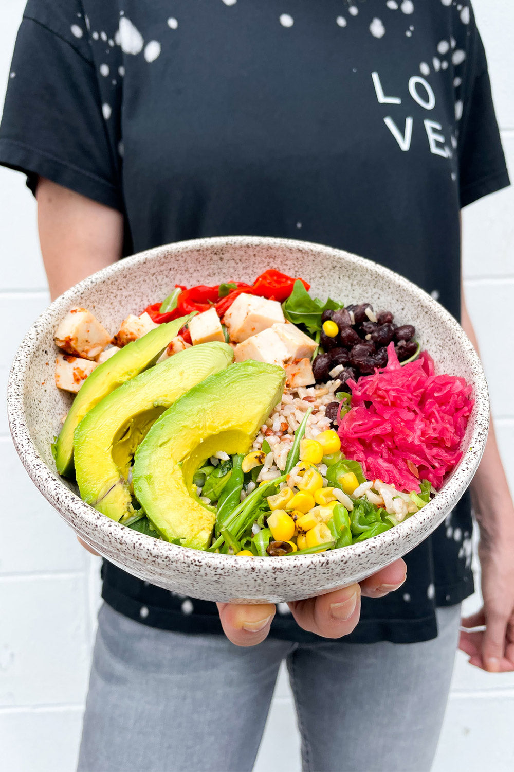 Healthy Bowl with Avocado and Fermented Kraut