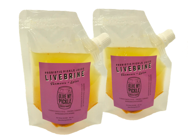 LiveBrine™ Probiotic Pickle Juice: Turmeric + Spice 2-Pack Trial Size
