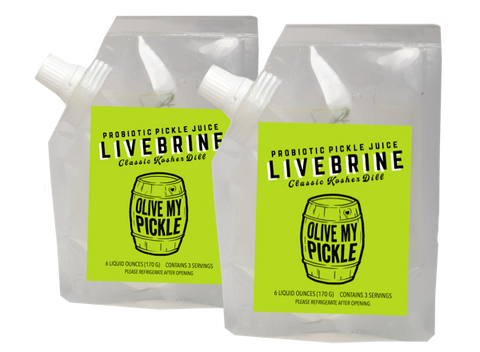 LiveBrine™ Probiotic Pickle Juice: Classic Kosher Dill 2-Pack Trial Size