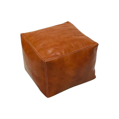 moroccan pouf artistan handmade square light brown luxury pouf leather