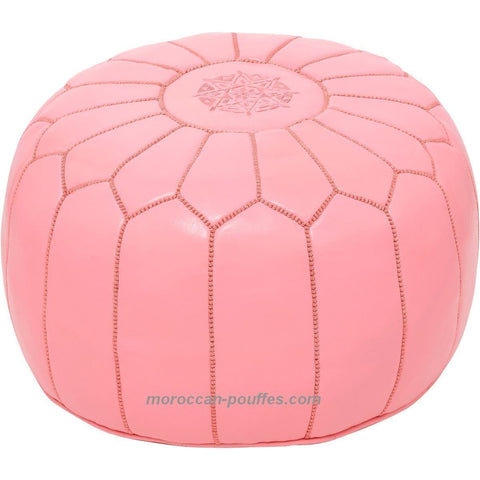 MOROCCAN POUF LEATHER LUXURY HANDMADE PINK