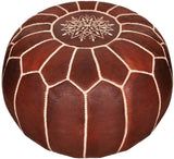 MOROCCAN POUF LEATHER LUXURY HANDMADE TANNED COLOR