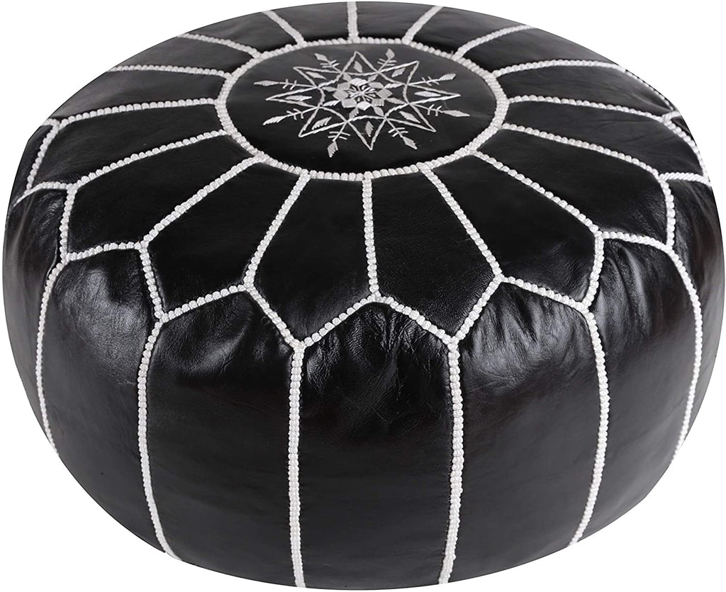 MOROCCAN POUF LEATHER LUXURY HANDMADE BLACK