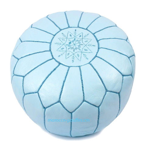 MOROCCAN POUF LEATHER LUXURY HANDMADE BLUE SKY