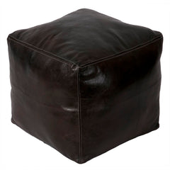 moroccan pouf artistan handmade square dark brown luxury pouf leather