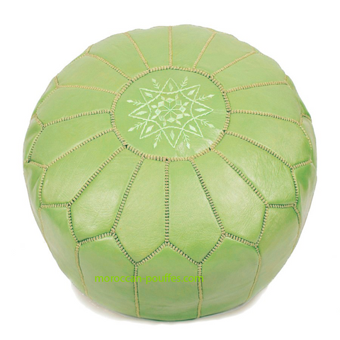 MOROCCAN POUF LEATHER LUXURY HANDMADE PISTASHIO GREEN