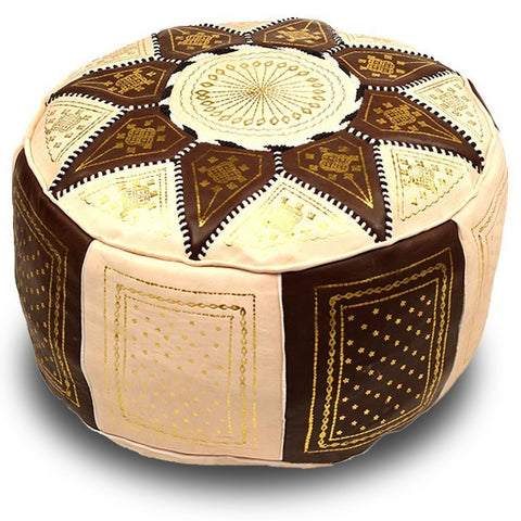 moroccan pouf fes handmade leather luxury brown