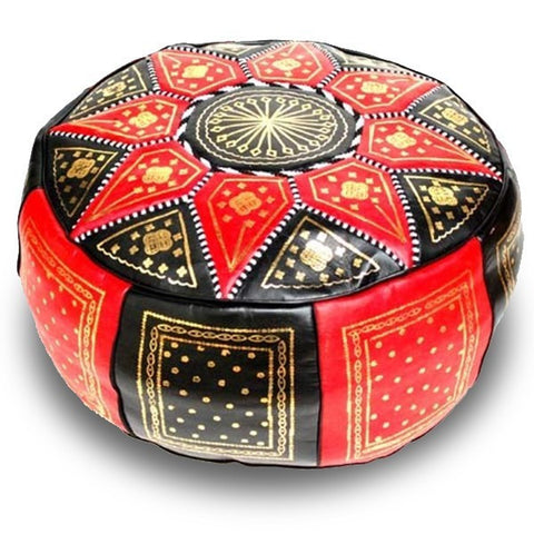 moroccan pouf fes handmade leather luxury red