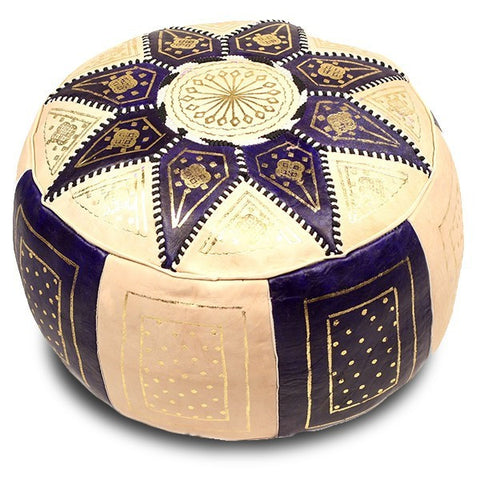 moroccan pouf fes handmade leather luxury bleu