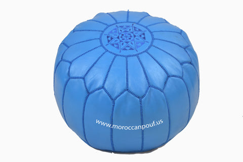 MOROCCAN POUF LEATHER LUXURY HANDMADE blue