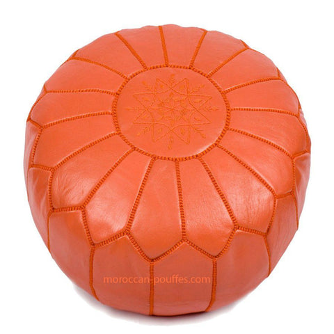 MOROCCAN POUF LEATHER LUXURY HANDMADE ORANGE