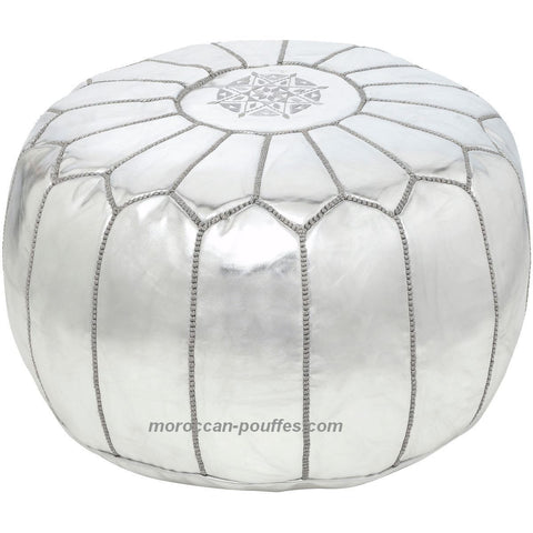 MOROCCAN POUF LEATHER LUXURY HANDMADE SILVER