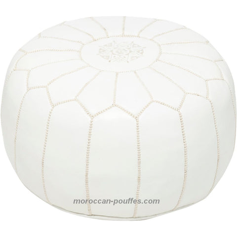 MOROCCAN POUF LEATHER LUXURY HANDMADE WHITE
