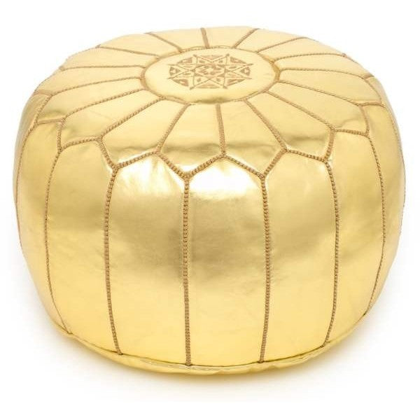MOROCCAN POUF LEATHER LUXURY HANDMADE GOLD