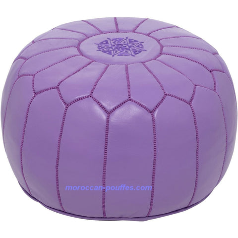 MOROCCAN POUF LEATHER LUXURY HANDMADE PURPLE