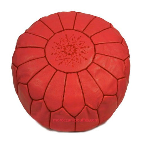 MOROCCAN POUF LEATHER LUXURY HANDMADE RED