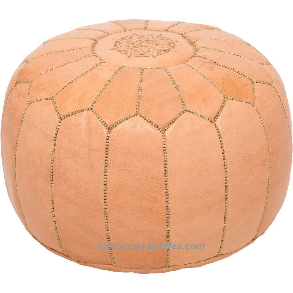 MOROCCAN POUF LEATHER LUXURY HANDMADE NATURAL