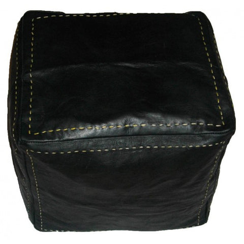 moroccan pouf hndmade square luxury black