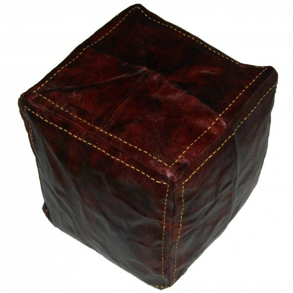 moroccan pouf hndmade square luxury brown