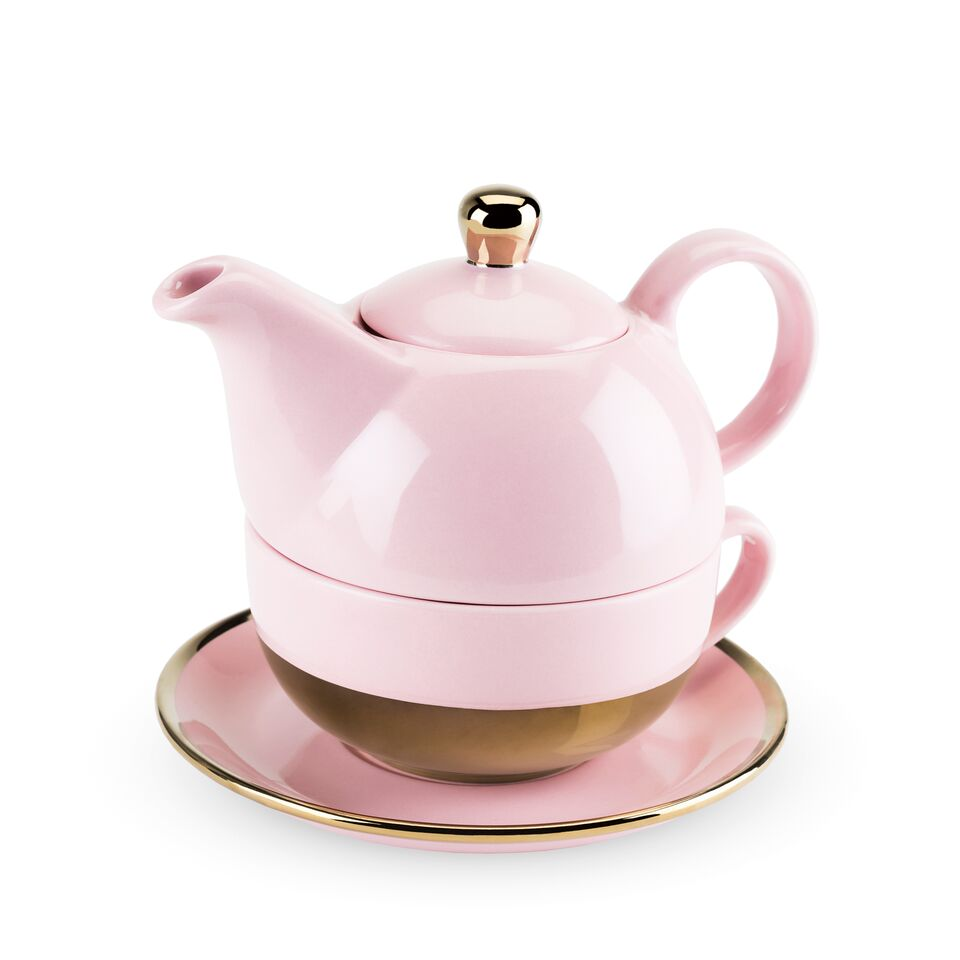 Addison Pink and Gold Tea for One Set - Planning Pretty